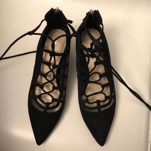 Zara lace up mini heels with zipper.